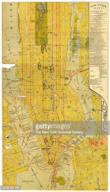 Map of New York City Presented by The Murray Hill Hotel and Plaza Hotel 1900 Black and color ink on paper by FA Hammond