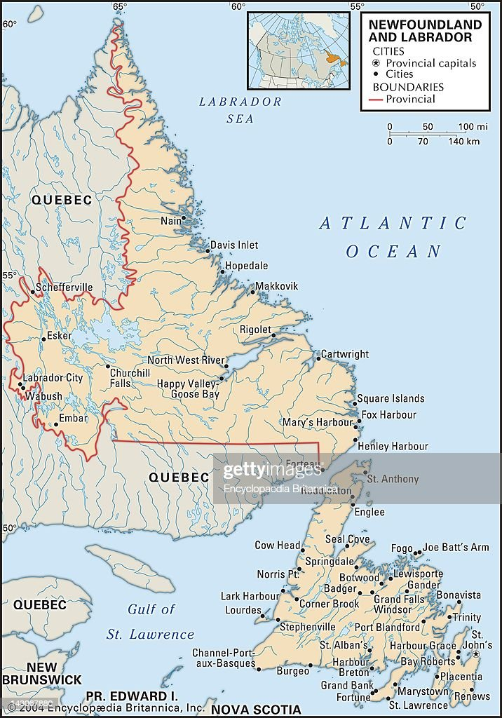 Map Of Newfoundland And Labrador Pictures Getty Images - Newfoundland map