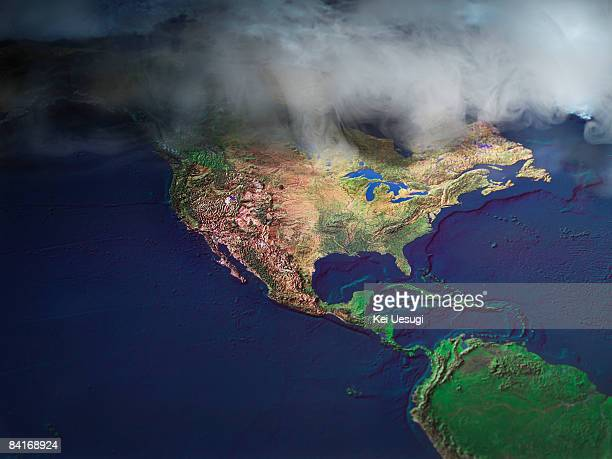 Map of North America with fog