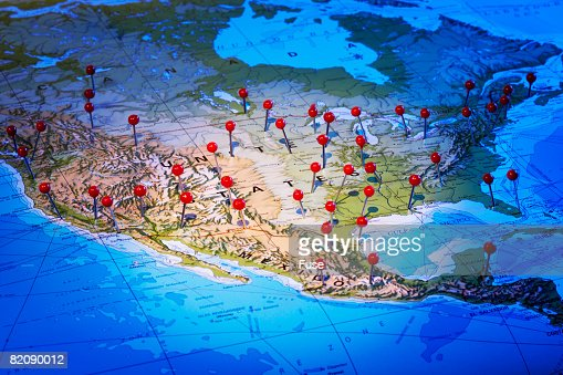 Map of North American with Pins