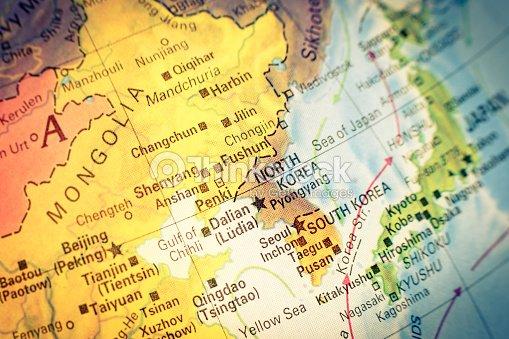 Südkorea Karte.Karte Von Nordkorea Und Südkorea Stock Foto Thinkstock