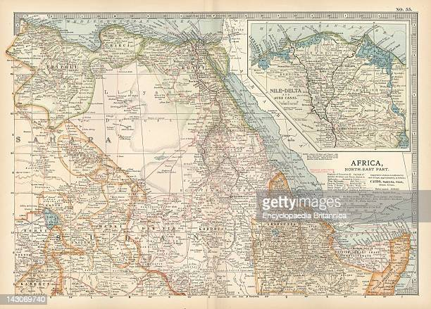 Map Of Northeastern Africa Map Of Northeast Africa With Insets Of The Nile Delta And Suez Canal Circa 1902 From The 10Th Edition Of Encyclopaedia...