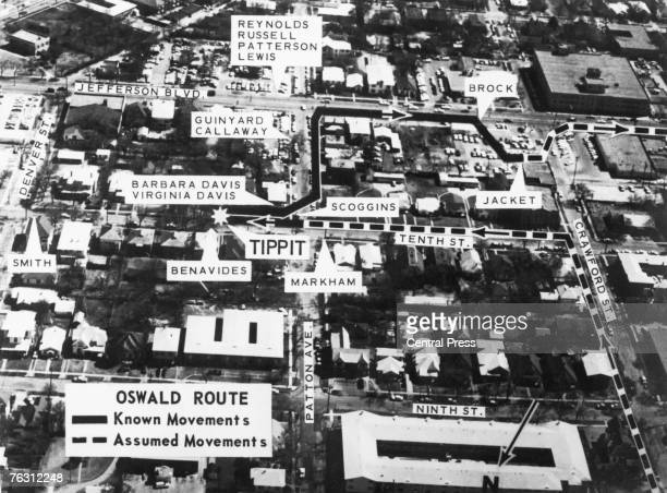 A map of Oak Cliff in Dallas showing the location of eyewitnesses to the movements of Lee Harvey Oswald in the vicinity of the killing of police...