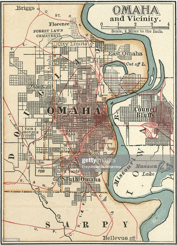 Map Of Omaha Map Of Omaha Nebraska Circa 1902 From The 10Th Edition Of Encyclopaedia Britannica