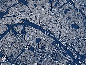 Map of Paris, satellite view, city, France. 3d rendering