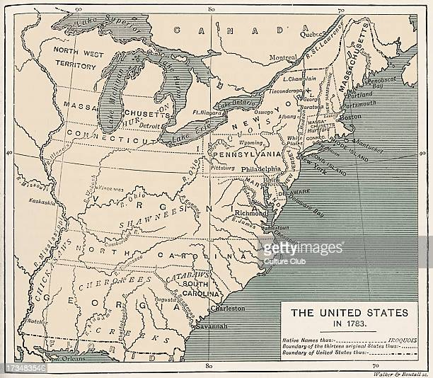 Map of postindependence United States 1783 Shows the thirteen original states national boundary and Native American location names