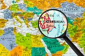 map of Republic of Azerbaijan through magnifying glass