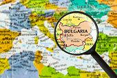 map of Republic of Bulgaria through magnifying glass