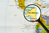 map of Republic of Nicaragua through magnifying glass