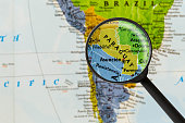 map of Republic of Paraguay through magnifying glass