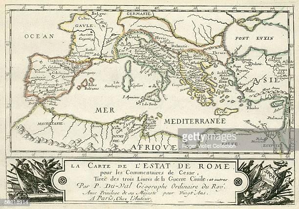 Map of Roman empire of Julius Caesar for his 'Commentaries'