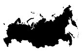 Map Of Russia Black Silhouette 3D Illustration