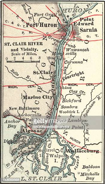 Map Of Saint Clair River And Port Huron Map Of Saint Clair River Port Huron And Sarnia Circa 1900 From The 10Th Edition Of Encyclopaedia Britannica