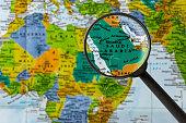 map of Saudi Arabia through magnifying glass