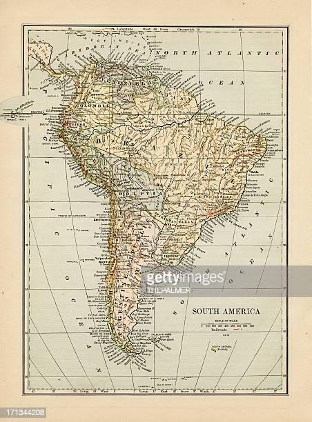Mapa de América del Sur 1875