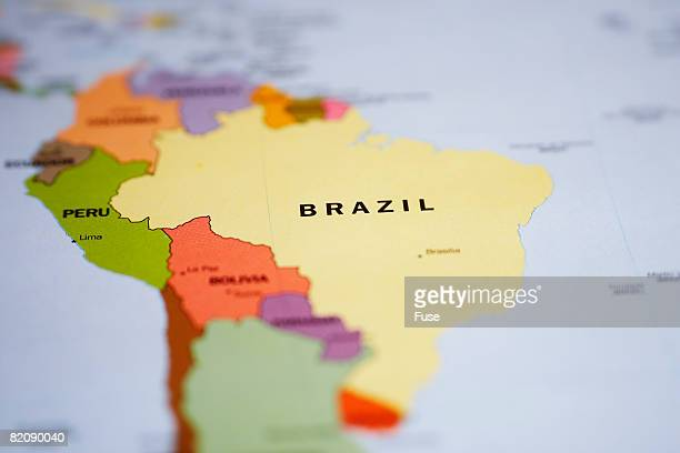 Map of South America and Brazil