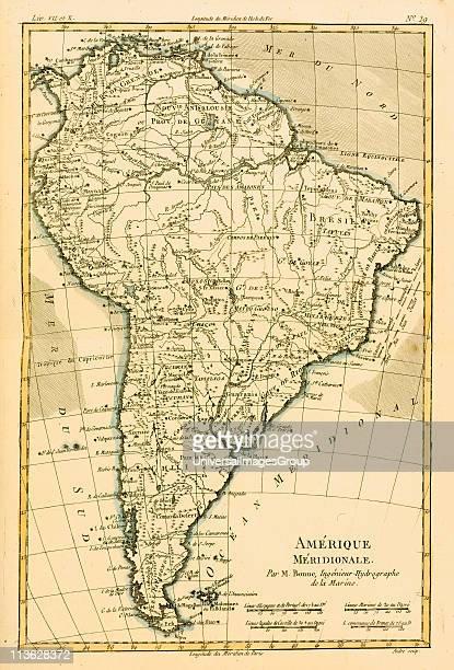 Map of South America circa1760 From 'Atlas de Toutes Les Parties Connues du Globe Terrestre ' by Cartographer Rigobert Bonne Published Geneva circa...