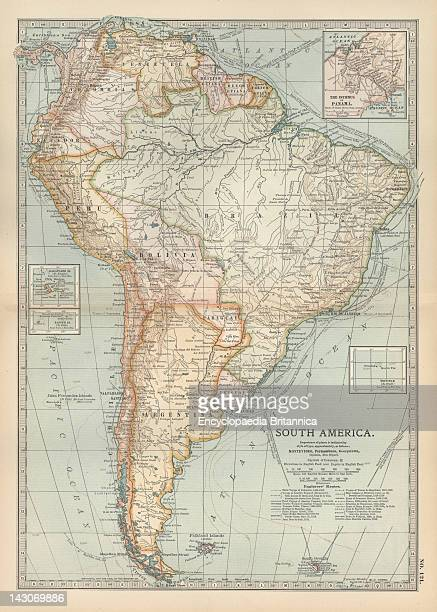 Map Of South America Map Of South America With Inset Maps Of Isthmus Of Panama Galapagos Islands And Trinidad Circa 1902 From The 10Th Edition Of...
