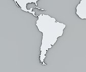 Map of South America, white geographical map. Cartography, geographical atlas. Grey background