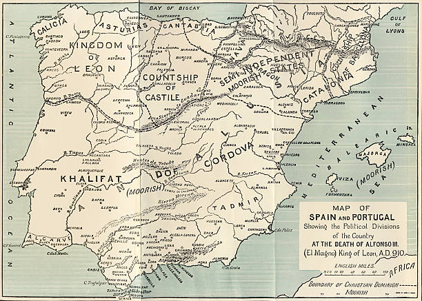 Map Of Spain And Portugal Showing The Political Divisions In The - Spain political map