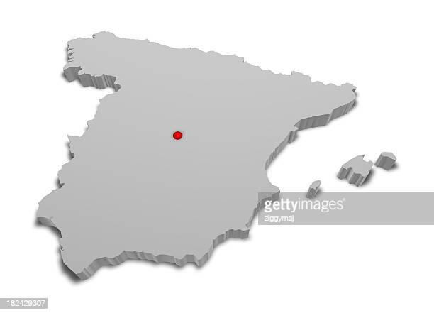 3 D, Mapa de España con la ciudad Capital marcado.