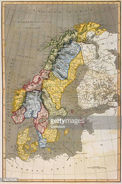 Map of Sweden with Denmark and Norway