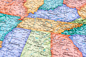 Map of Tennessee and Kentucky States in USA. Detail from the World Map.