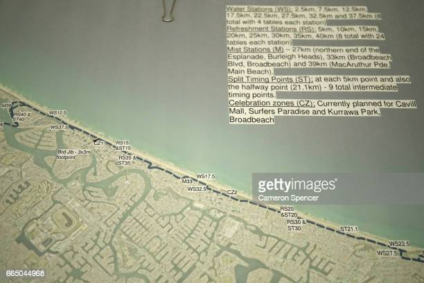 A map of the 2018 Commonwealth Games maratahon course is displayed in Southport venue for the triathlon for the 2018 Commonwealth Games on April 6...