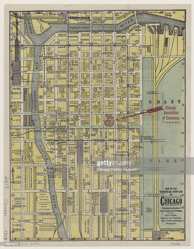 Map Of The Business Portion Of Chicago Pictures Getty Images - Chicago map lake michigan