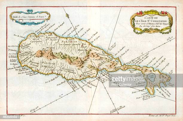 Map of the Caribbean island of St Christopher c1764