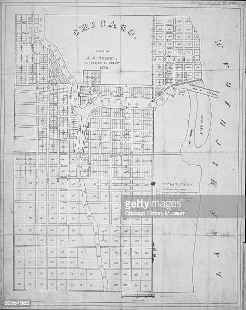 A map of the city of Chicago drawn by by JS Wright according to the survey of 1834 Chicago IL
