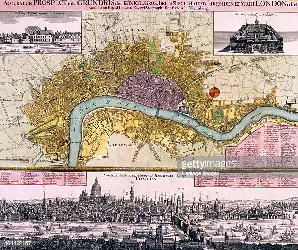 Map of the City of London and part of Southwark with inset images of Whitehall Palace and the Royal Exchange A prospect of the City from Temple to...