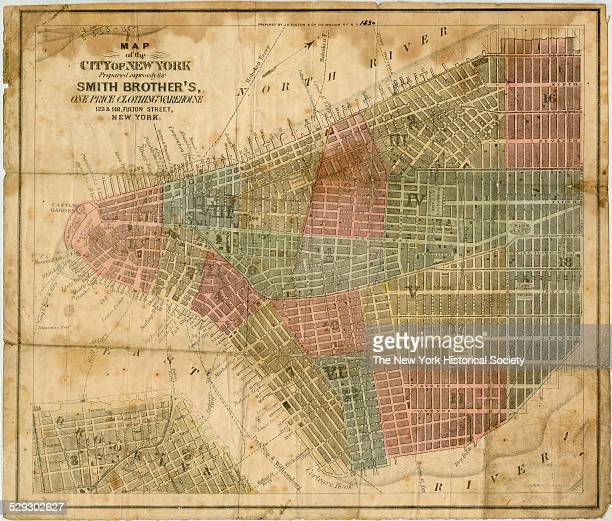 Map of the City of New York prepared expressely for Smith Brother's one price clothing warehouse prepared by JH Colton Co 1861 Between 1854 and 1869...