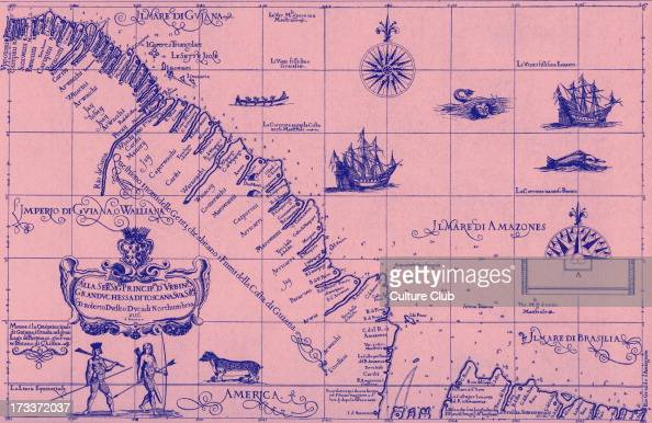 Map of the Coast of Guiana published in Dudley 's 'Dell' Arcano del Mare' 1646 47