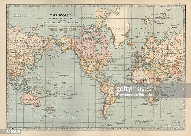 Map Of The Colonial Powers Map Of The World Showing 'The Chief Countries And Their Colonies' Circa 1902 From The 10Th Edition Of Encyclopaedia...