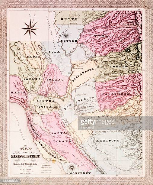 A map of the counties of California around the San Francisco Bay in 1851 during the Gold Rush which had started in 1849 Towns and gold camps are both...