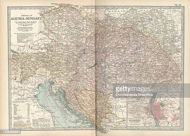 Map Of The Empire Of AustriaHungary Map Of Empire Of AustriaHungary And Inset Of Budapest And Vicinity Circa 1902 From The 10Th Edition Of...