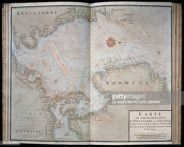 Map of the English and Scottish coast from the Straits of Calais to Orkney from the Recueil de Cartes Marines by Jean Baptiste Colbert 1693