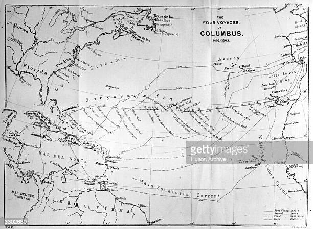 A map of the four voyages of the Italian navigator Christopher Columbus from 'The World's Great Explorers' by J Scott Keltic