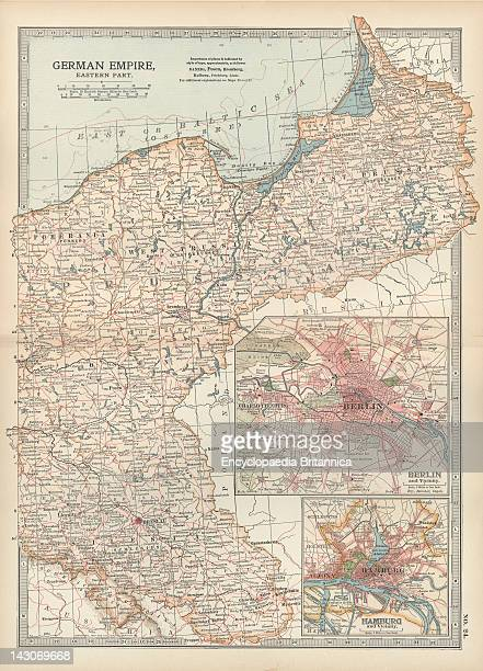 Map Of The German Empire With Berlin And Hamburg Map Showing The Eastern Part Of The German Empire With Inset Maps Of Berlin And Hamburg Circa 1902...