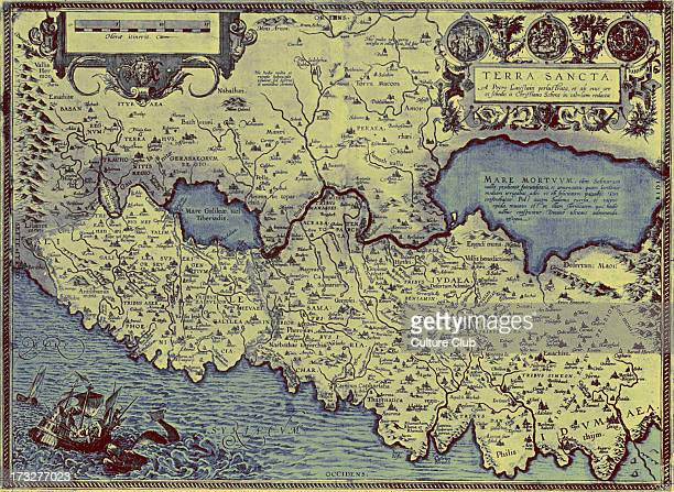 Map of the Holy Land in 'Theatrum Orbis Tearrarum' by Ortelius 16th century