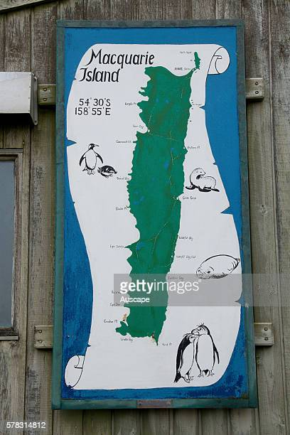 Map of the island as artwork pinned on the timber wall of the Australian Antarctic Program research station Macquarie Island Sub Antarctic...