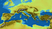 Map of the Mediterranean Sea and Europe, map of heights, sea bottom, Africa and Middle East, 3d rendering. Physical map