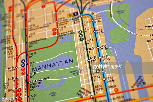 A map of the New York City subway with the addition of the 2nd Avenue subway line blue line at right hangs on display during the ground breaking...