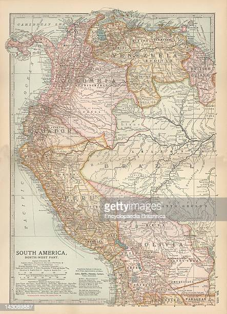 Map Of The Northwestern Part Of South America Map Of Northwest South America Colombia Venezuela British Guiana Ecuador Peru And Bolivia Circa 1902...