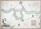 Map of the River Thames from London Bridge to Woolwich 1802 Showing river depths and sandbanks