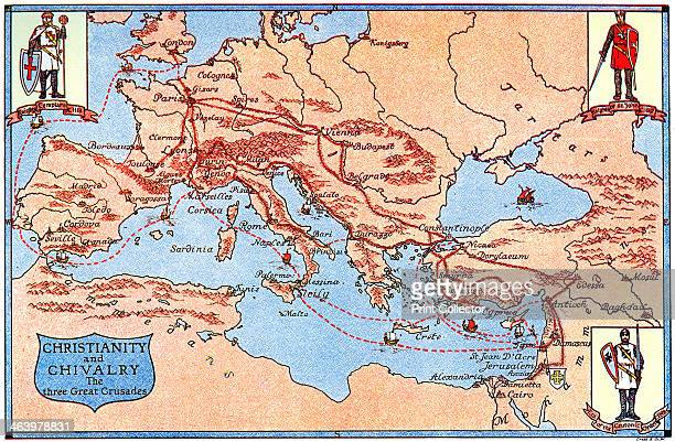 Map of the routes of the three great crusades 1926 From An Outline of Christianity The Story of Our Civilisation volume 2 Builders of the Church...