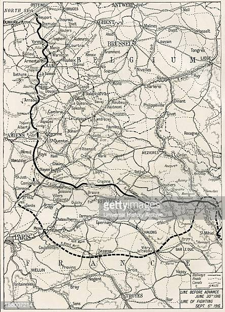 Map Of The Somme Offensive On The Western Front During World War One From The Year 1916 Illustrated