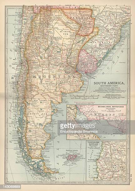 Map Of The Southern Part Of South America Map Of Southern South America With Inset Maps Of Buenos Aires Montevideo Valparaiso And Santiago Circa 1902...