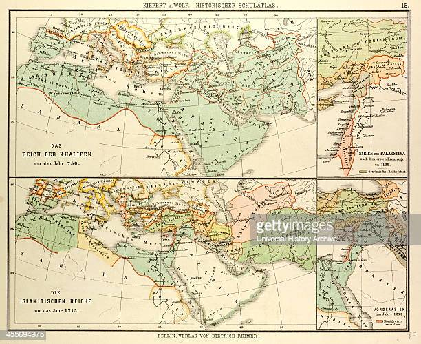 Map Of The Umayyad Caliphate Empire In 750 And The Islamic Empire In 1215